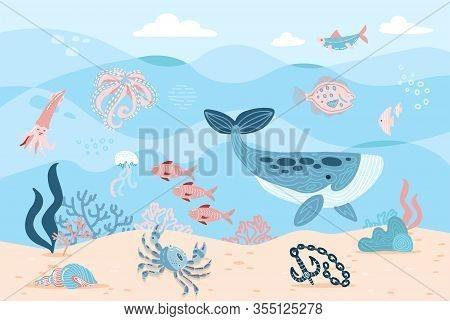 Sea Inhabitants. Octopus, Whale, Fish, Crab And Algae. Marine Life On Sea Bottom With Ankor On Sand.