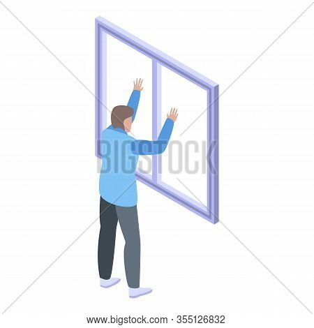 Plastic Window Installation Icon. Isometric Of Plastic Window Installation Vector Icon For Web Desig