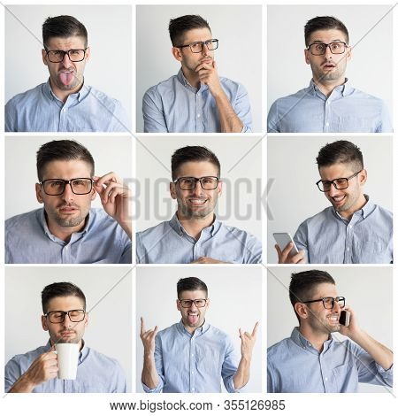 Young Man In Glasses Portrait Set With Different Hand Gestures And Facial Expressions. Funny Guy In