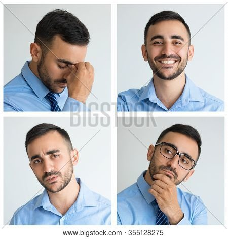Male Portraits With Happy, Serious, Pensive Face Expressions. Handsome Young Man Studio Shot Collage