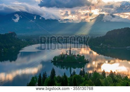 Incredible Sunrise Over Lake Bled At Spring Morning, Slovenia