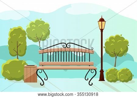 Beautiful Summer City Park With Green Trees Bench, Lantern And Walkway.