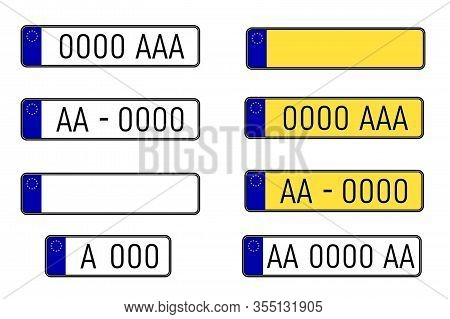 Set Of European Number Plates. Car License Plate. Eu Countries Car Number Plates. Registration Numbe