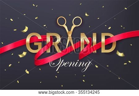 Grand Opening Banner, Poster, Invitation With Red Curled Cut Ribbon, Golden Scissors And Gold Sparkl