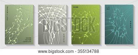Database Analytics Concept Abstract Vector Covers. Fluid Curve Lines Torrent Backdrops. Futuristic C