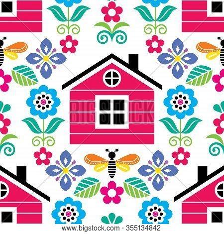 Scandinavian Folk Art Seamless Vector Floral Pattern With Finnish Or Norwegian House, Textile Design