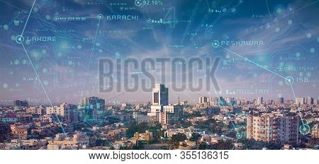 Sityscape Of Beautiful Metropolitan City Of Pakistan, Karachi City - Business Hub Of Pakistan