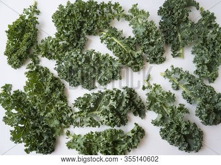 Kale Leaves On White Background. Top View. Kale Leaves With Copy Space For Text. Background Of Kale