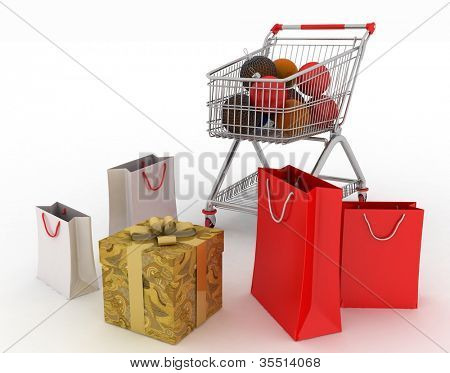 Beautiful bright Christmas balls and gifts in shopping cart and paper bags isolated on white