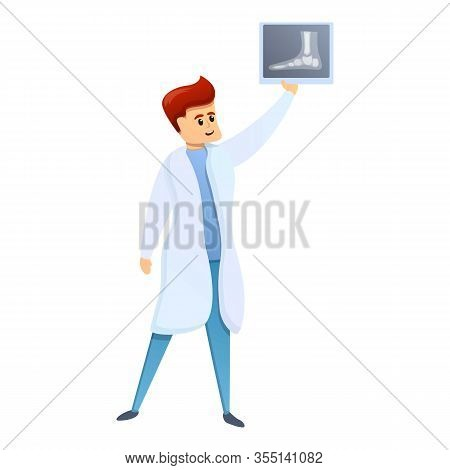 Doctor Show Leg Xray Icon. Cartoon Of Doctor Show Leg Xray Vector Icon For Web Design Isolated On Wh