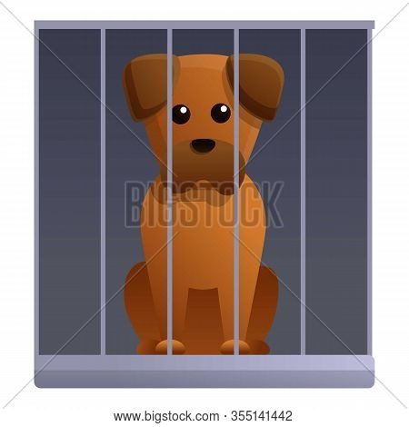 Sad Dog In Shelter Cage Icon. Cartoon Of Sad Dog In Shelter Cage Vector Icon For Web Design Isolated