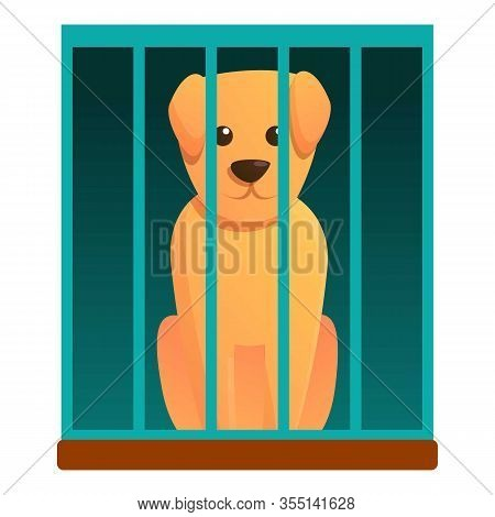 Dog In Shelter Box Icon. Cartoon Of Dog In Shelter Box Vector Icon For Web Design Isolated On White