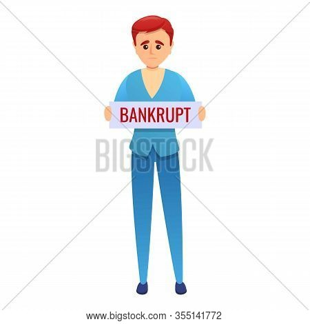 Bankrupt Worker Icon. Cartoon Of Bankrupt Worker Vector Icon For Web Design Isolated On White Backgr