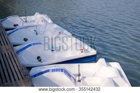 Catamarans Moored At The Pier.catamarans Moored At The Pier