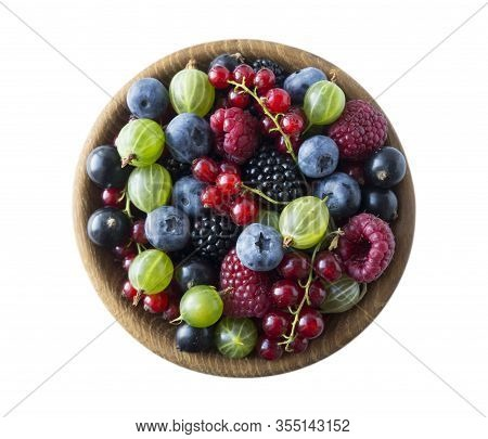 Top View. Fruits And Berries In Bowl On White Background. Mixed Fruits With Copy Space For Text. Mix