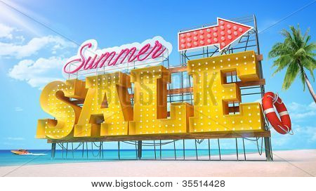 Summer sale. Yellow large-scale letters standing at the beach under a blue sky.