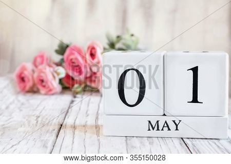 White Wood Calendar Blocks With The Date May 1st. Selective Focus With Pink Ranunculus In The Backgr