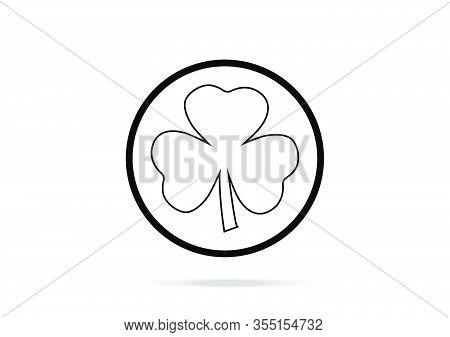 Green Shamrock Leaf Clover Icon In Design Flat Style Isolated On White Background. You Can Shamrock