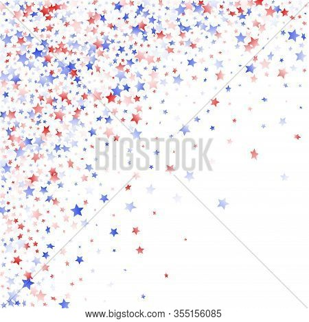 American Patriot Day Stars Background. Holiday Confetti In Us Flag Colors For Patriot Day.  Trendy R