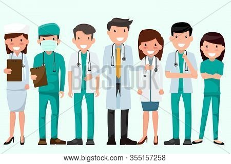 Health And Medical Concept Illustration. Doctor And Nurse Characters. Full Length Doctors Wearing Un