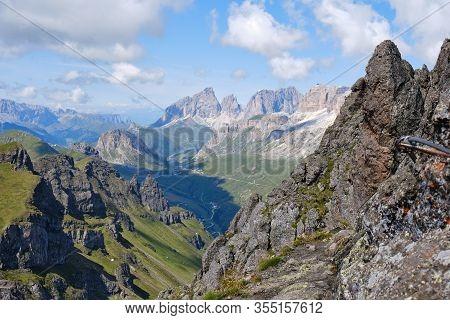 View Of Mountain Peaks And Ridges As Seen From Via Ferrata Delle Trincee, Padon Ridge, Dolomites Mou