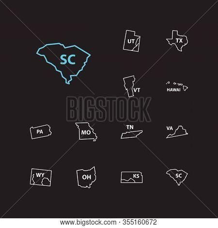 Geography Icons Set. Hawai And Geography Icons With Territory, Shape And State Map. Set Of Ohio For
