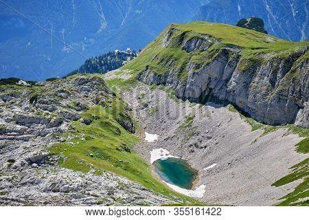 Turquoise Mountain Lake In Rofan Mountains - View Towards Rofan Sailbahn And Erfurter Hut.