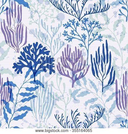 Coral Reef Seamless Pattern. Kelp Laminaria Seaweed Algae Background. Undersea Reef Flora Pattern. A