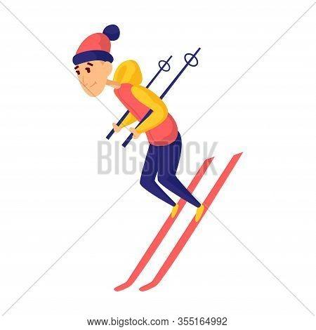 Vector Men Skier. Male Skiing Design Element Isolated On White Background. Winter Sportsman On Ski R