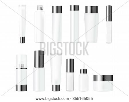 Realistic Mockups Bundle Of Bottles For Various Cosmetics Packaging. Cream, Lotion, Shampoo, Gel, Po