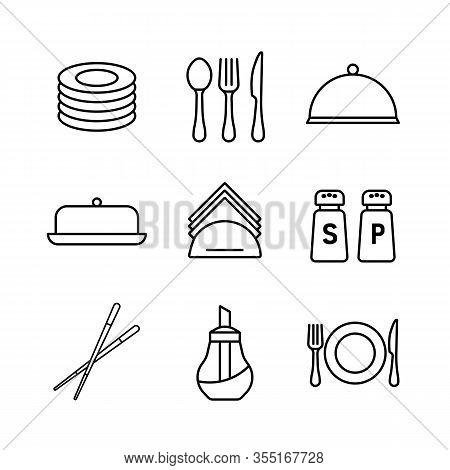 Restaurant Vector Icon Set. Serving Food Sign. Graph Symbol For Cooking Web Site And Apps Design, Lo