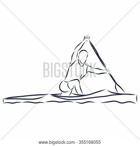 Academic Canoe Rowing. Hand Drawn Outlines. Black Line Drawing. Sport Canoeing Illustration. Vector
