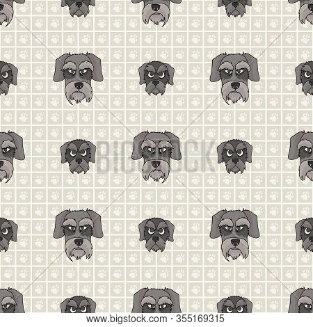 Hand Drawn Cute Schnauzer Dog And Puppy Face Seamless Vector Pattern. Purebred Pedigree Puppy Domest