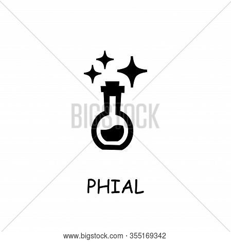 Phial Flat Vector Icon. Hand Drawn Style Design Illustrations.