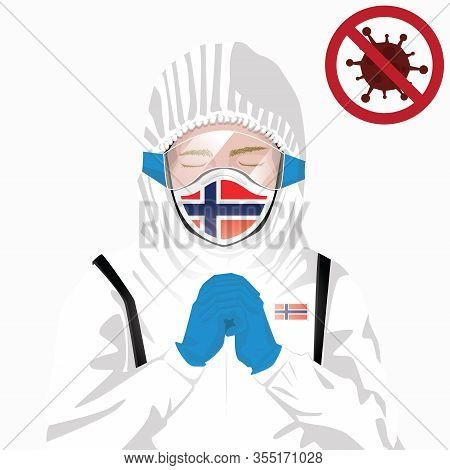 Covid-19 Or Coronavirus Concept. Norwegian Medical Staff Wearing Mask In Protective Clothing And Pra
