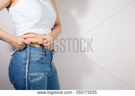 Fat Woman, Fat Girl, Fat Belly, Chubby, Overweight Fatty Belly Of Woman Isolated On White Background