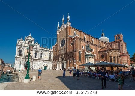 Venice, Italy - August 17, 2018: Renaissance Basilica Of Saints Giovanni And Paolo
