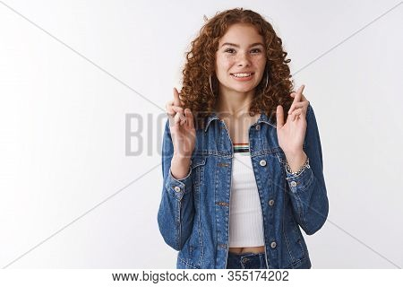 Nervous Cute Female Student Worry Pass Exams Receive Scholarship Wish Luck Cross Fingers Clench Teet