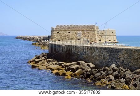 Heraklion, Crete, Greece - June 5, 2019 : Koules Fortress In The Capital Of Crete One Of The Greek I