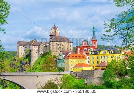 Loket Castle Hrad Loket Gothic Style Building On Massive Rock, Colorful Buildings In Town, Bridge Ov