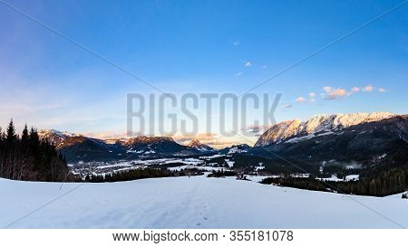 Mountains In, Styria, Austria Bad Mitterndorf View On A Snowy Terrains Surrounding Resorts