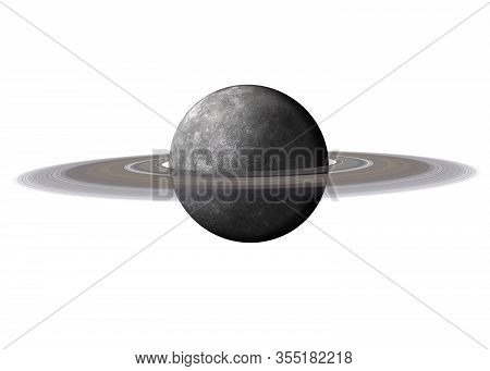 High Detailed Mercury Planet Of Solar System With Saturn Ring Isolated On White Background. Elements