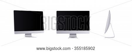 Personal Computer Mockup In Front, Side And Angle View. Silver Modern Flat Monitor For Business Pres