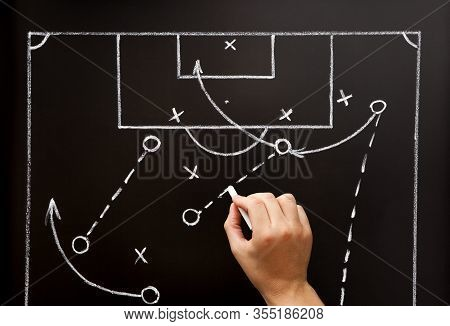 Football Soccer Coach Drawing Game Playbook, Tactics And Strategy With Chalk On Blackboard.