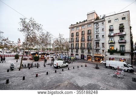 Plaza De Antonio Lopez Close To The Main Street Via Laietana In The Born. La Ribera District. 03.01.