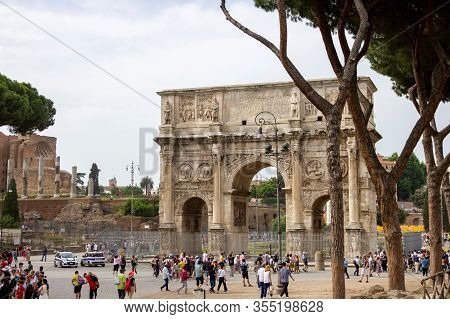 Rome, Italy - June 14 2019: A Landscape Portrait Of The Arc Of Constantine Which Is Located At The C