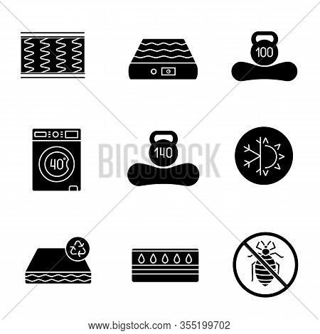 Mattress Glyph Icons Set. Spring, Air, Machine Washable, Dual Season, Recyclable, Water, Antiallergi
