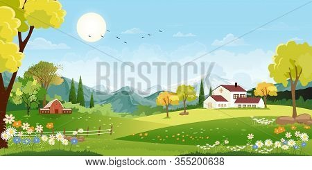 Panorama Landscape Of Spring Village With Green Meadow On Hills And Blue Sky, Vector Summer Or Sprin