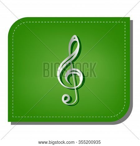 Music Violin Clef Sign. G-clef. Treble Clef. Silver Gradient Line Icon With Dark Green Shadow At Eco