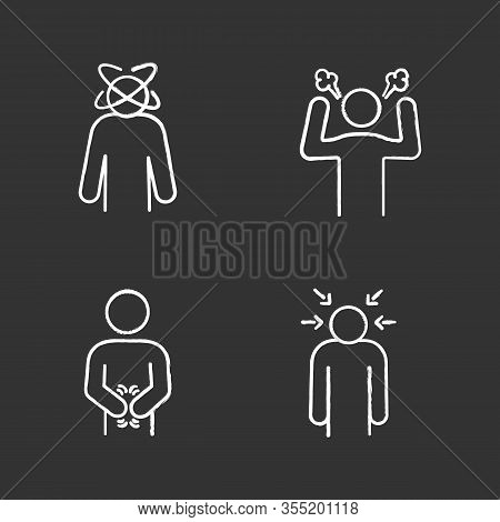 Emotional Stress Chalk Icons Set. Dizziness, Anger, Indigestion, Nervous Tension. Isolated Vector Ch